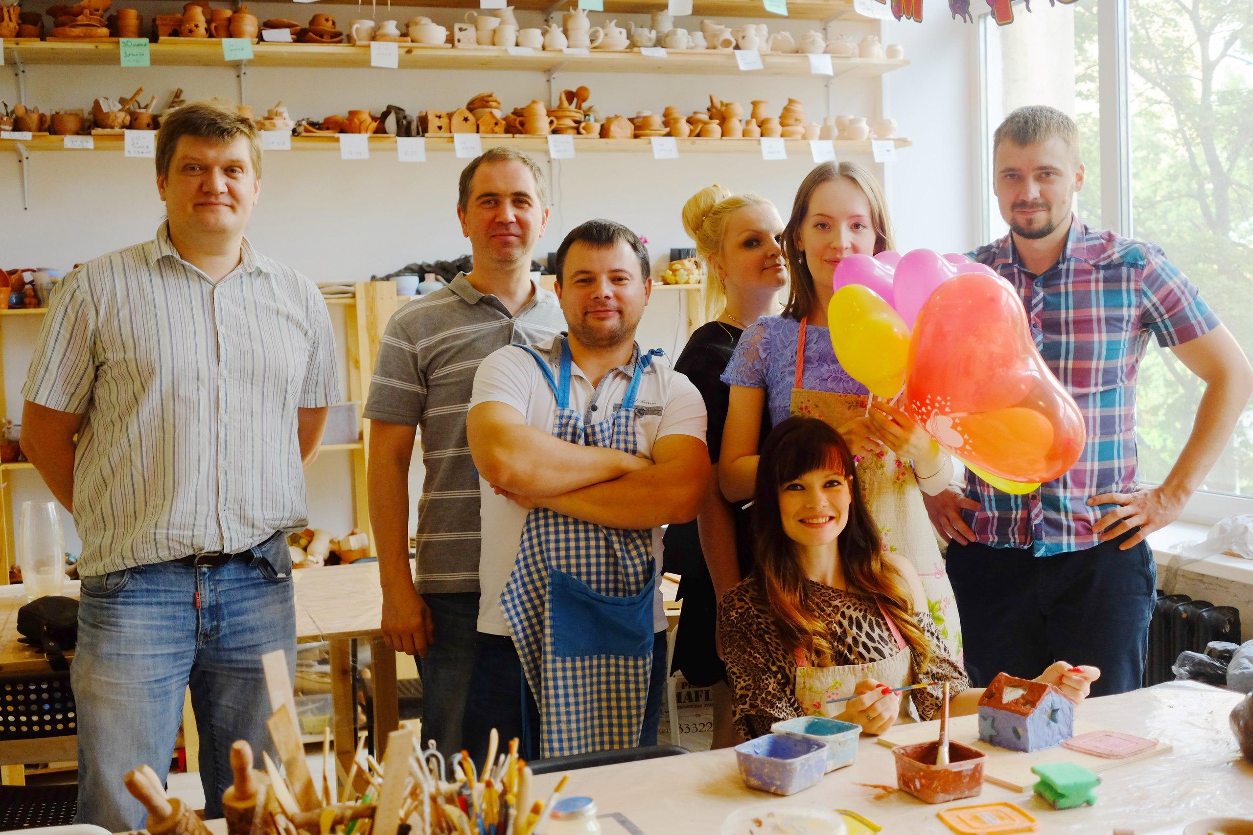 семейный праздник в гончарной студии